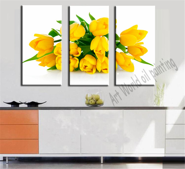3 Panel Noble Golden Yellow Tulips Painting Canvas Wall Picture ...