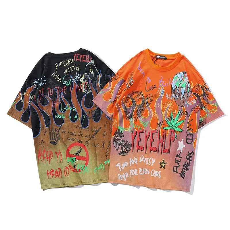 Graffiti ogień płomień Streetwear koszulki z krótkim rękawem 2019 mężczyzn Hip Hop na co dzień z krótkim rękawem Tee koszule męskie Harajuku mody koszulki