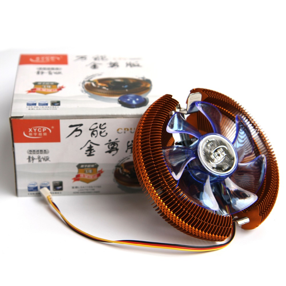 Mute Golden CPU Cooler Heatsink PC cooling Fan Rediator For intel LGA775/LGA1155/LGA1156/LGA1150 For AMD 754/AM2/AM2+/AM3 three cpu cooler fan 4 copper pipe cooling fan red led aluminum heatsink for intel lga775 1156 1155 amd am2 am2 am3 ed