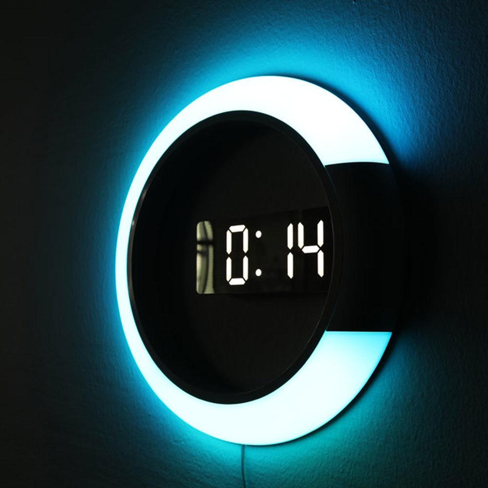 Home Decor Multi-function Alarm Temperature Ring Light 4 Colors Digital Wall Clock LED Mirror Hollow Wall Clocks