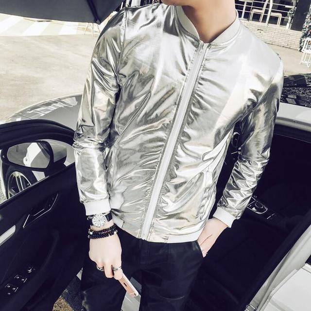 100968351 US $17.67 7% OFF|5XL Summer Men Bomber Jacket Fashion 2018 Slim Fit Sun  Protection Clothing Silver Shining Jackets Mens Plus Size Stage Coats  Man-in ...