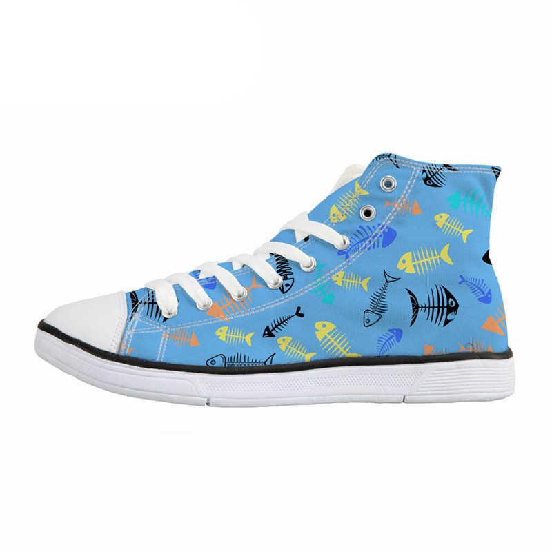 NOISYDESIGNS Cute Cartoon Fish Design Donna High Top Vulcanize Scarpe Lace Up Casual Scarpe di Tela Ragazze Adolescenti Sneakers Femminili