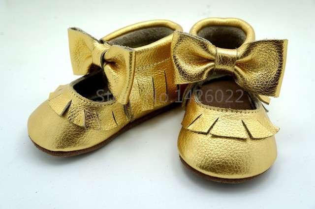 New gold bow Mary Jane Genuine Leather baby shoes First Walkers design Toddler baby moccasins Shoes free shipping