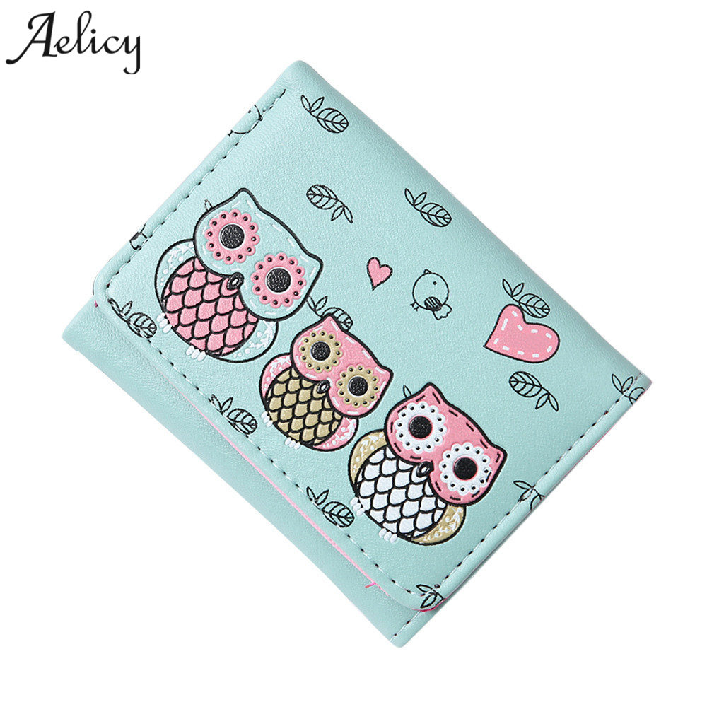 Aelicy Women Cute Owl Printing Small Girl Wallet Brand Designed PU Leather Women Coin Purse Female Wallet for Credit Cards ...