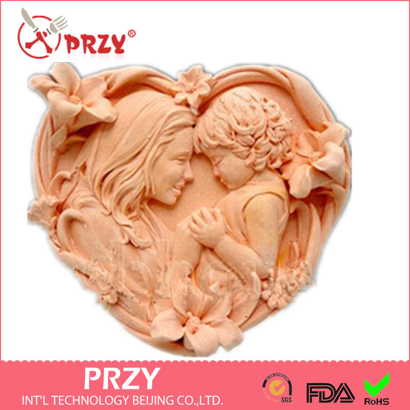 Baby With  Mother   Silicone Handmade Fondant Mold DIY Mold Cake Decorating Tools Love  Soap Mold
