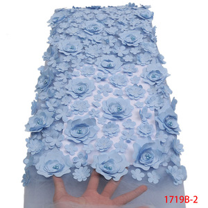 Image 4 - Fashion African Lace Fabric High Quality 3D Flower Fabric Embroidery with Beads French Tulle Net Lace for Wedding Dress APW1719B