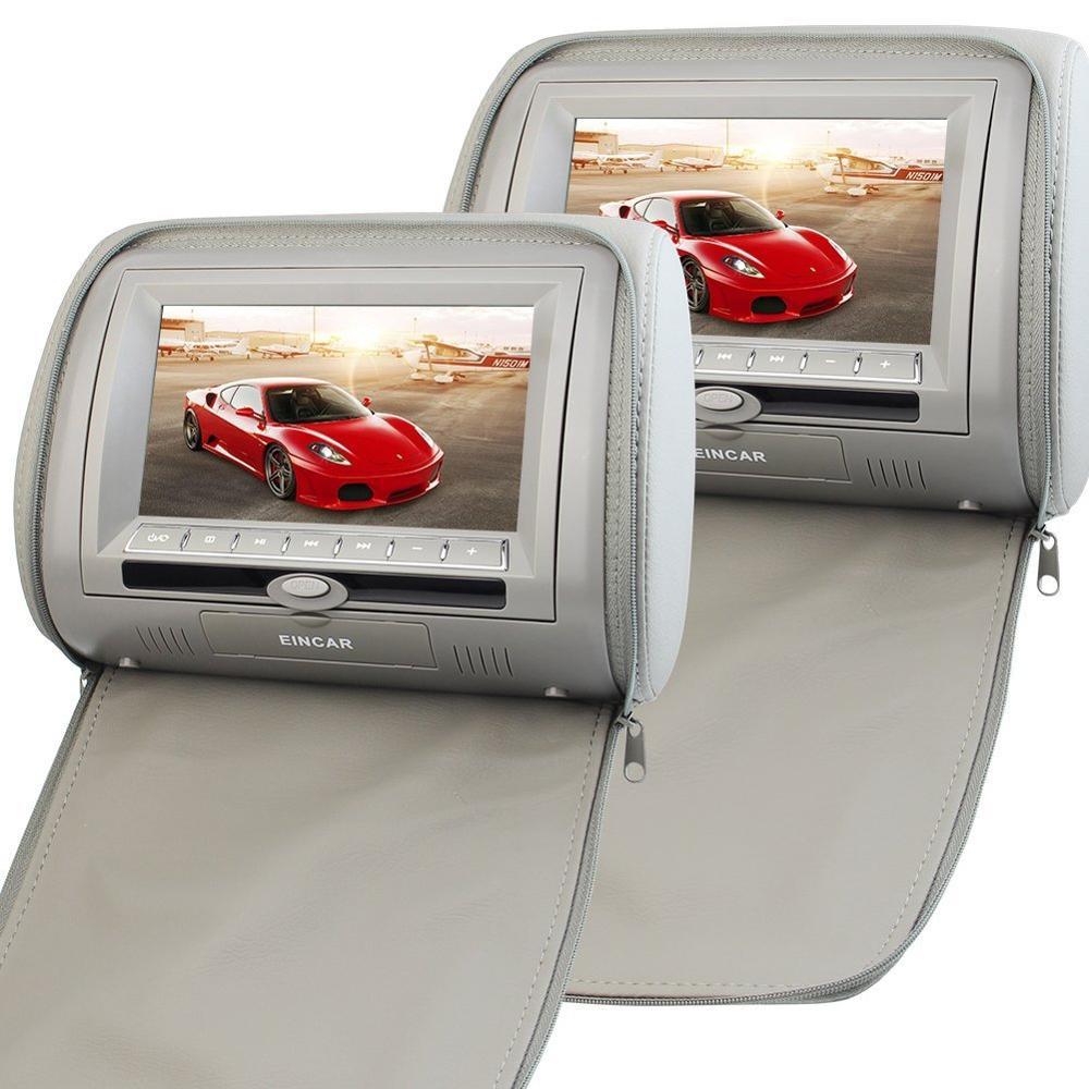 Une paire d'appuie-tête 7 ''LCD voiture oreiller moniteurs avec région lecteur DVD gratuit double écran USB SD IR FM transmetteur jeu vidéo