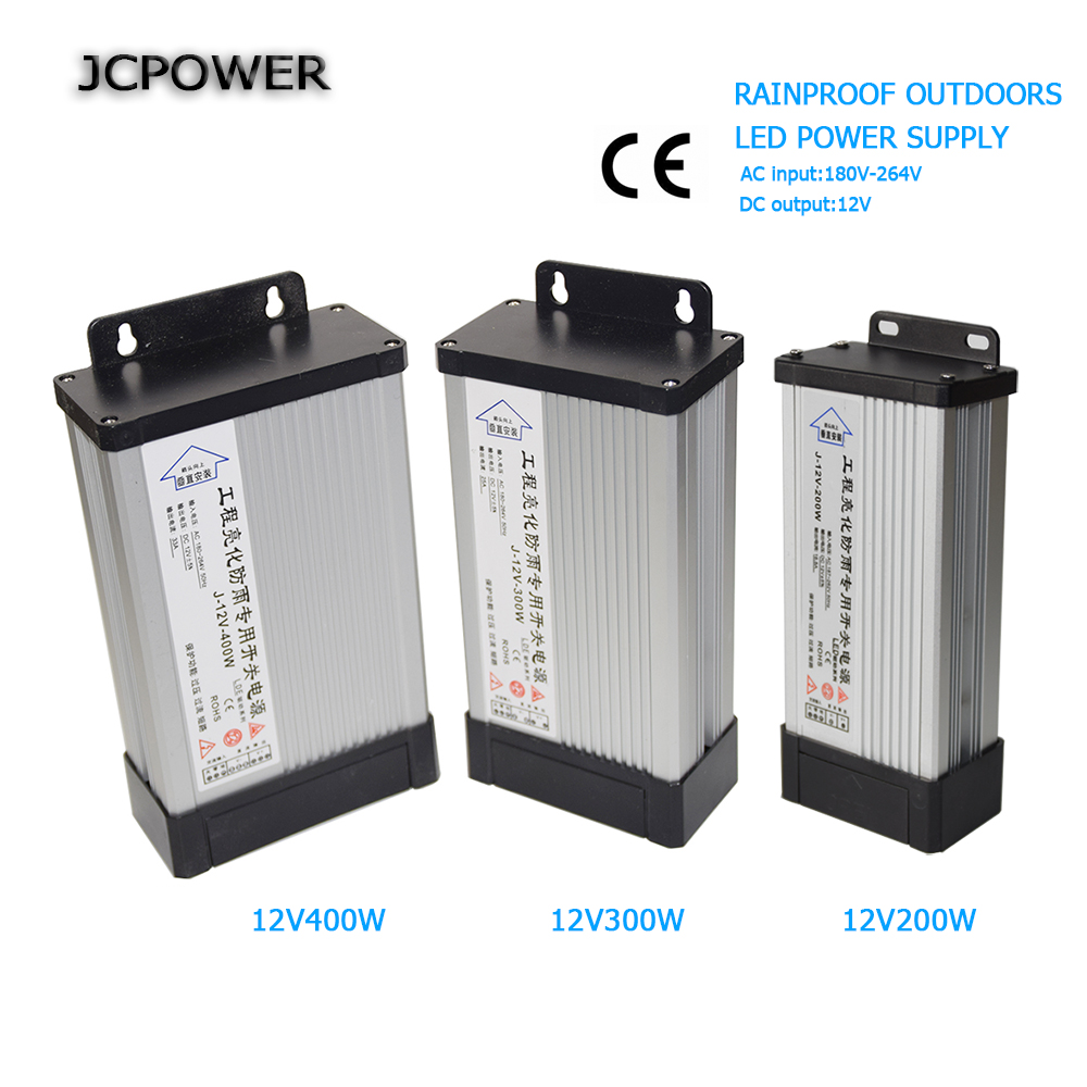 LED Outdoor Rainproof Power Supply DC12V 300W 400W AC220V LED Driver Lighting Transformers