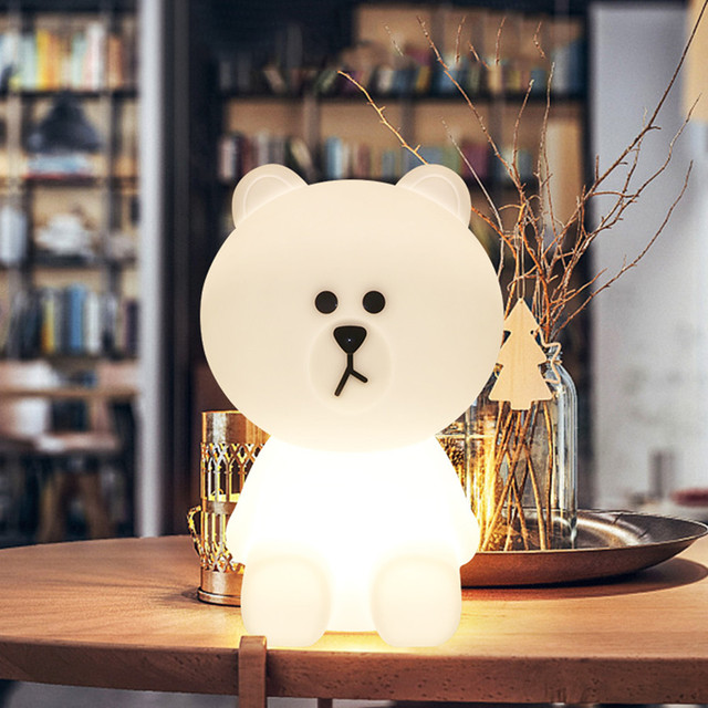 Thrisdar Cute Rabbit Bear Led Night Lamp Dimmable Baby Sleeping Beside Table Light Children's Toys Christmas gift for Kids Baby