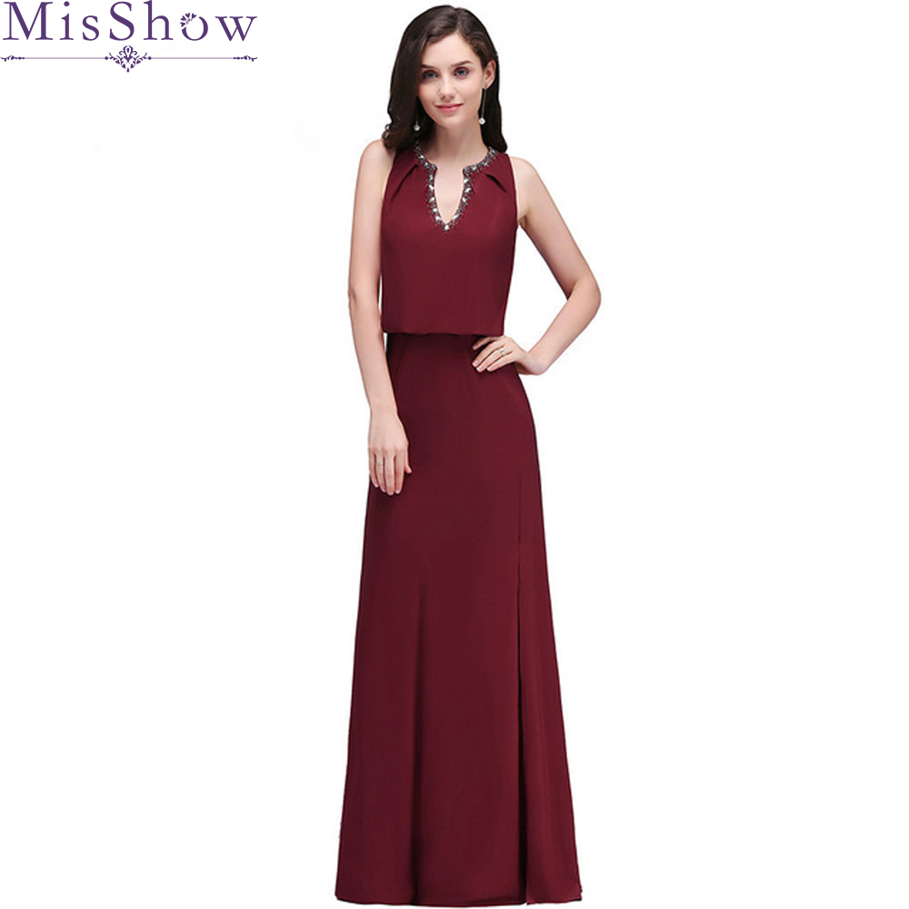 Spring Final Sale!   Evening     Dresses   Long Women Elegant Burgundy V neck Sleeveless Elastic Waist Formal   Evening     Dress   Prom Gown