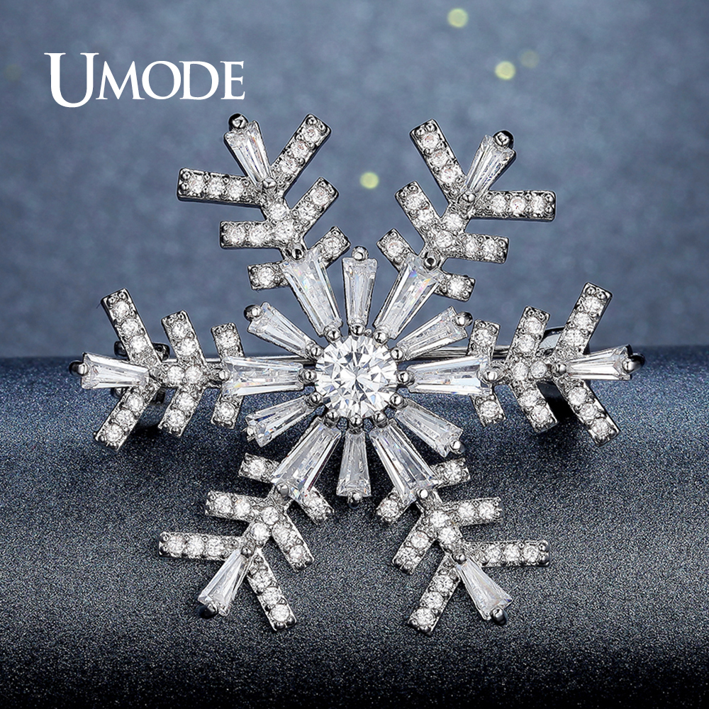 UMODE Large Rhinestone Crystal Snowflake Brooch for Women Wedding Bridal Jewelry Collar Flower Pins and Brooches Fashion UX0004 luxury star crystal rhinestone lapel pins and brooches for women large mother of pearl suit broches bridal wedding jewelry x012