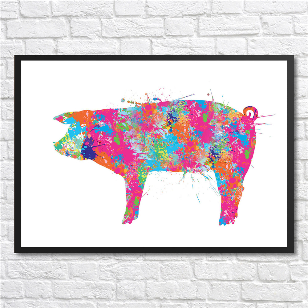 Colorful Pet pig painting Wall art Sticker Modern Coated paper Home ...