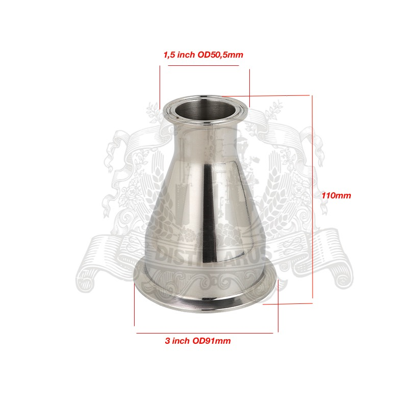 Tri- Clamp Reducer  3(76mm) OD91 x 1.5(38mm)OD50.5  .SS 304 Stainless SteelTri- Clamp Reducer  3(76mm) OD91 x 1.5(38mm)OD50.5  .SS 304 Stainless Steel