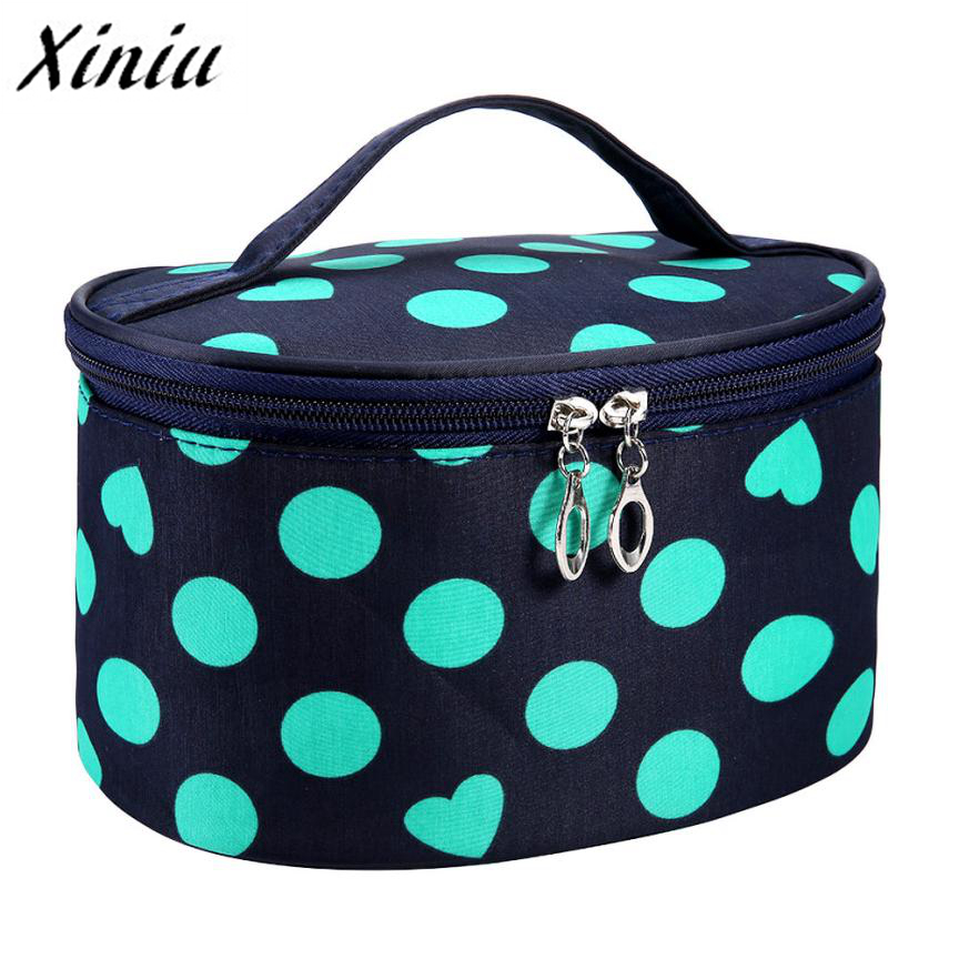 Xiniu Woman Portable Storage Makeup Bags Travel Large Capacity Cosmetic Bag Canvas Dot Beauty Portable Cosmetic Bag A0711#121 luxcel travel accessory fashion cosmetic case bag large capacity portable women makeup necessaire storage