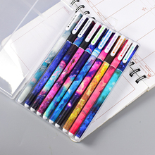 10 Pcs/Set color black gel pen kawaii lapices tinta gel cute plastic Festoon office lapices supplies stationery kalem material