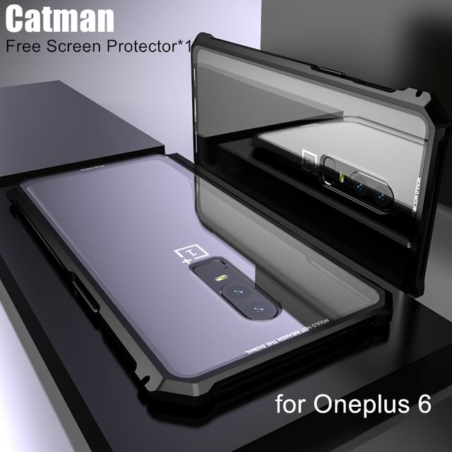 low priced 2b411 8acc1 US $12.88 |oneplus 6 case original catman bumper aviation aluminum metal  frame border with Transparent Back Tempered Glass phone shell-in Phone ...
