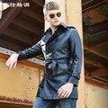 Новый 2016 Мужская Кожаная Куртка Высокого класса мужские Кожаные Пальто Мужчины Искусственная Кожа Пальто Jaqueta Де Couro М-XXXL Черный