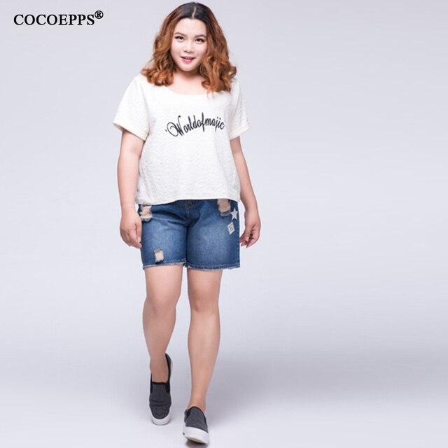 Лето отверстие джинсовые шорты женщин Мода mid эластичный пояс хемминг короткие джинсы Карман украсить джинсы шорты Плюс размер