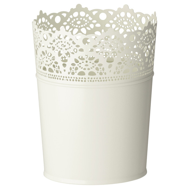Free Shipping Rustic Vase White Embossed Bucket Tin Vase Decorative