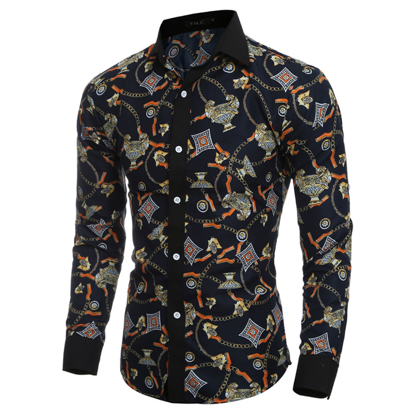 2016 Fashion Vintage Golden Cup Mens Dress Shirts Long ...