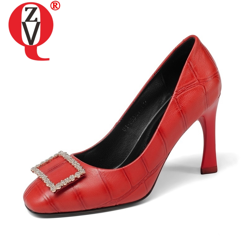 ZVQ women shoes new fashion genuine leather super high thin heels square toe metal crystal decoration outside party lady pumpsZVQ women shoes new fashion genuine leather super high thin heels square toe metal crystal decoration outside party lady pumps