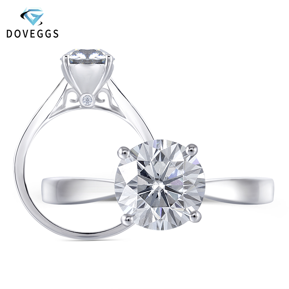DovEggs Slight Gray 2ct 8mm Moissanite Engagement Ring For Women Thick Platinum Plated Silver Sterling 925