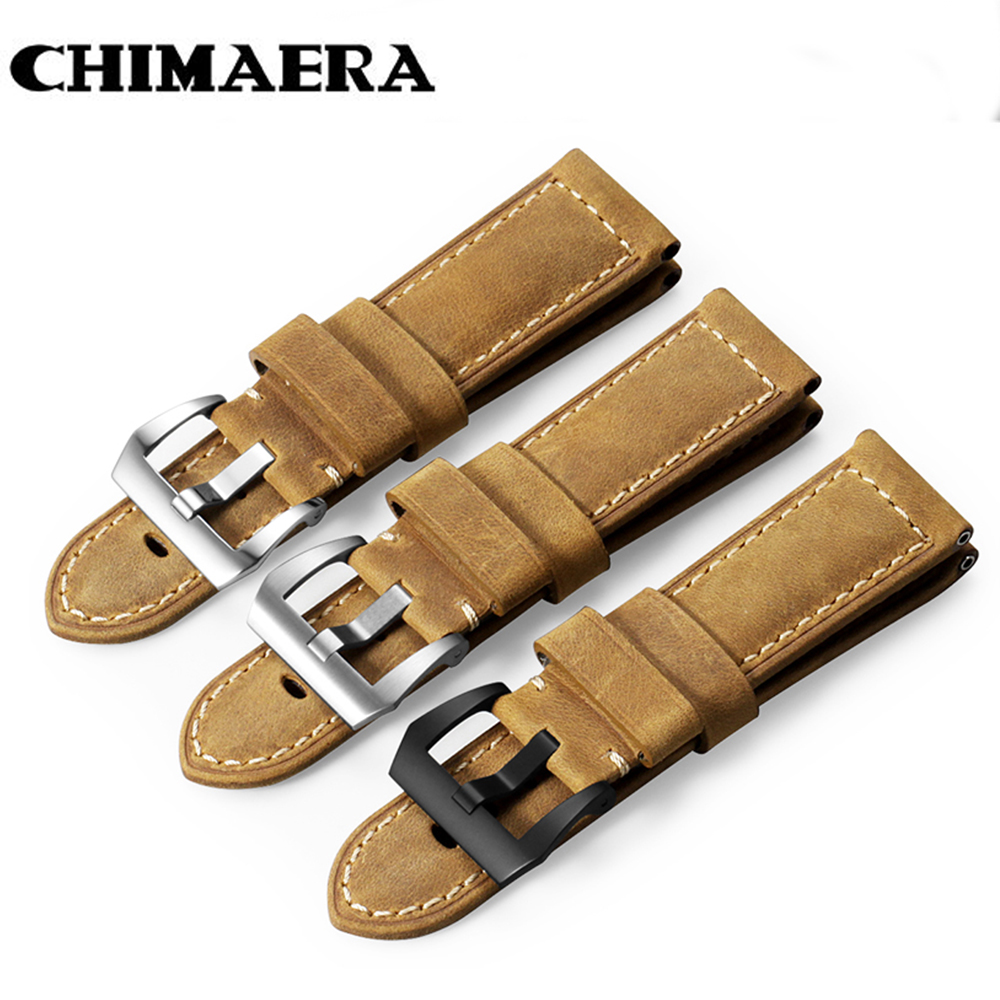 CHIMAERA 22mm 24mm 26mm Calf Skin Genuine Leather Watch Band With Watch Tang Buckle For Panerai Watch Strap Free Shipping new matte red gray blue leather watchband 22mm 24mm 26mm retro strap handmade men s watch straps for panerai
