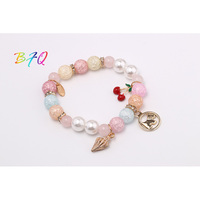 Fashion Vintage New Pink Bead Shell Hobbyhorse Cherry Clear Pearl Charm Bracelet Hot Selling Bangle Women