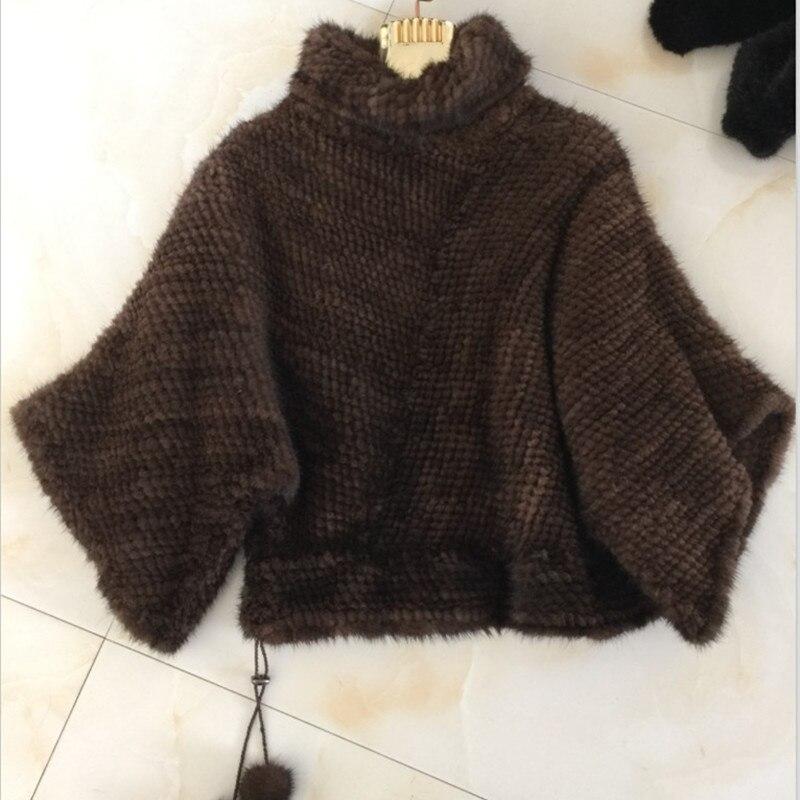 Réel Véritable De Fourrure Chaud Vison Outwear noir Marron Veste Femmes Tricoté Nouvelles Manteau 2018 Taille Naturel Ux1Izz
