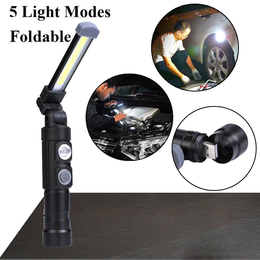 Foco portátil, luz de trabajo COB LED recargable, luz de trabajo, linterna de imán, lámpara, linterna, luz para exteriores|Focos portátiles|   - AliExpress