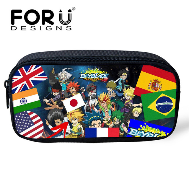 a1821af5eb46 US $8.39 30% OFF|FORUDESIGNS Kids Boys Pencil Bags Anime Beyblade Burst  Evolution Print Women Makeup Bag Children School Supplies Pen Bag Pouch -in  ...
