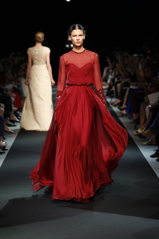 Georges Hobeika Elegant Sheer Neck Chiffon Red Evening Dresses With Sleeves 2014 Floor Length Arabic Party Gown Robe De Soiree