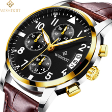 WISHDOIT Mens Watches Top Luxury Brand Fashion Casual Business Sports Men Quartz Wrist Male Clock Relogio Masculino