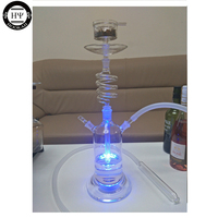 LED SPIRAL GLASS HOOKAH SHISHA WITH LED LIGHT AND REMOTE CONTROL CLEAN EPE FOAM PACKAGE RUSSIA