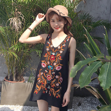 Mihoshop Ulzzang Korean Korea Women Fashion Clothing Bohemian Flower Floral Embroider Casual V collar Sleeveless Dress