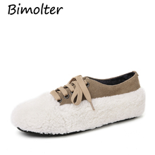 Bimolter Fur shoes For Women Lady Spring New Lamb Hair Flats Round Toe -Lace Up with Sheepskin 2cm Increased HeelShoes NEW NC005