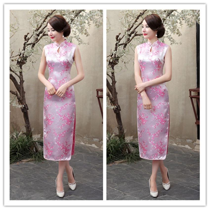 Chinese Vintage Traditional Costumes Cheongsams Women Sleeveless Tight Bodycon Dress Drop Collar Party Wear Wedding Dress