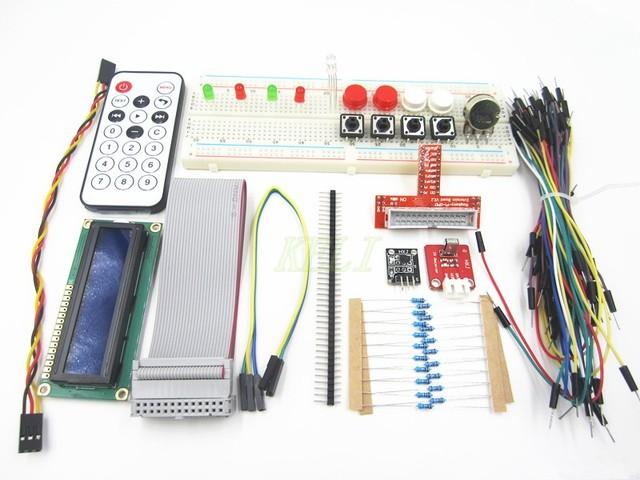 Envío gratis 2 set/sets Adaptador GPIO Raspberry PI Kit Breadboard 1602 LCD Cable Del Sensor LED