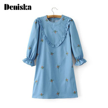 New 2017 Denim Dresses For Women College Style Ruffles Patchwork jeans Dress Womens Clothing loose Casual Embroidered Dress
