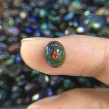 Naturalne etiopii kolorowe czarny opal owalne 7*9mm najwyższej jakości naturalne szlachetne luźne kamienie szlachetne dla 925 sterling silver biżuteria tanie tanio Black Grzywny 1 6ct Good oval Shape