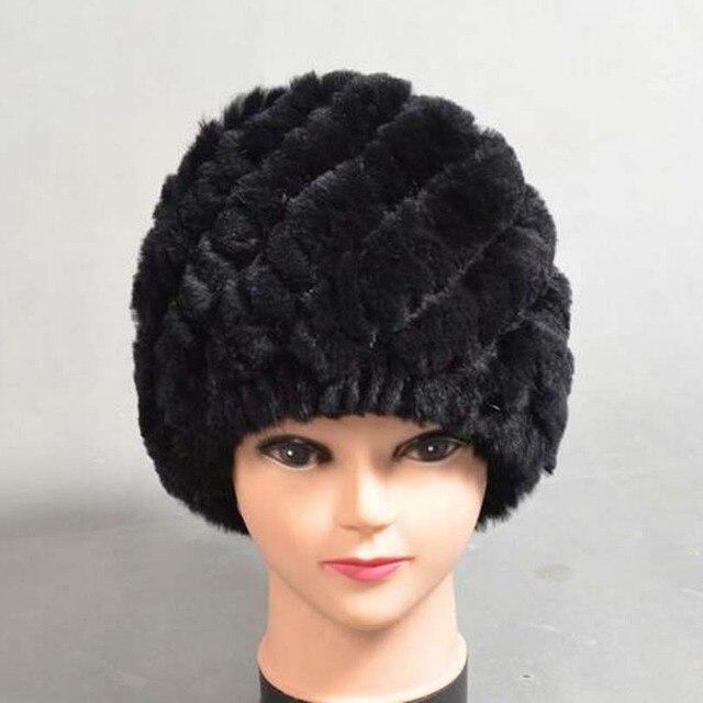 Mujer de Sombrero de Invierno Real Rex Rabbit Fur Sombreros Para Las Mujeres Que Hacen Punto Gorros Skullies y Gorros Espesar Tapa de Lujo Femenina gorros