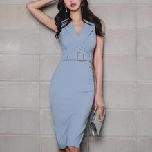 2018 Women Slim Summer Sexy turn down collar OL Pencil Dress office Ladies  sleeveless package hip 1400c57e0558