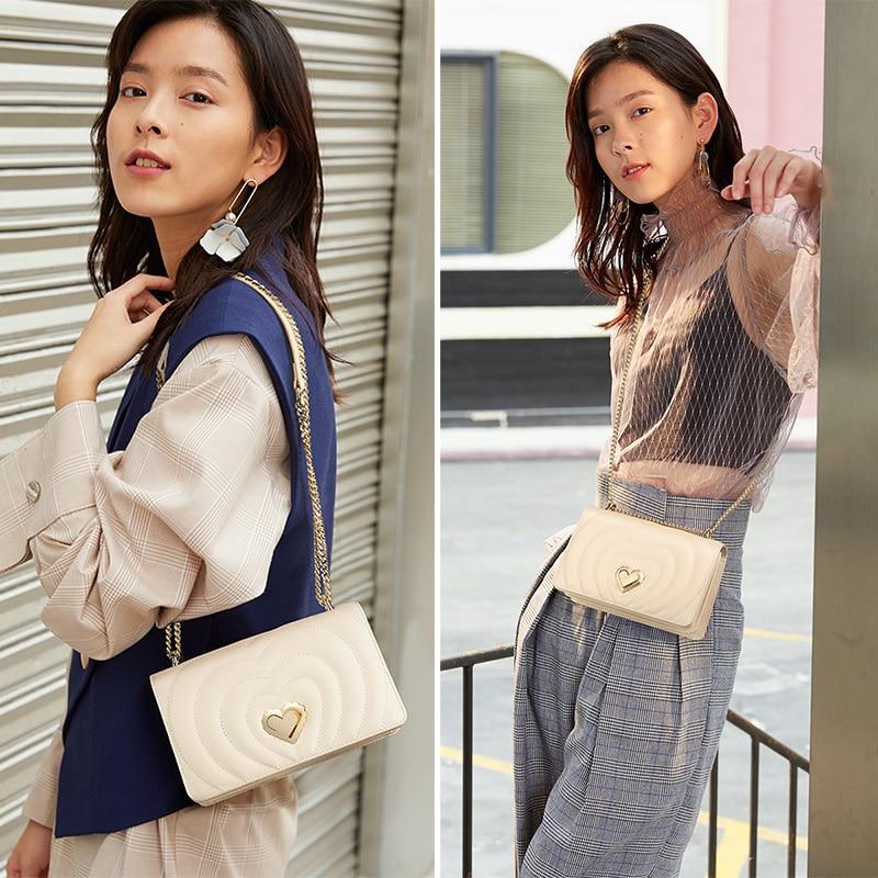 FOXER Brand Chic Female Valentine's Day present Skin Messenger Bags Elegant Lady Love Flap Bag INS Fashion Women Crossbody Bag 2