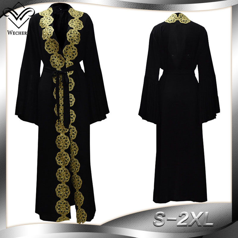 Wechery 2018 Fashion Abaya Dubai Black & Gold Maxi Robes Plus Size Islamic Clothing Muslim Style Kimono Dress for Women