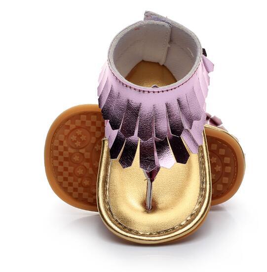 Hot Sale Summer Newborn Infant Baby Kids Pram Crib Fringe Moccasins Shoes Nonslip PU Leather Tassel Sandals For 0-24M Girls