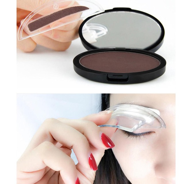 Portable Eyebrow Powder Easy Makeup Sweatproof Powder Stamp Eyes Cosmetic Eye Brow Powder for Natural Perfect Eyebrow Shape 3