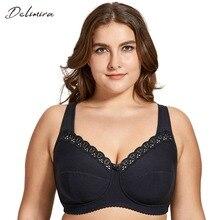 Delimira, Sujetador de algodón sin aros de encaje de cobertura completa para mujer, sin relleno, de talla grande B C D E F H I J