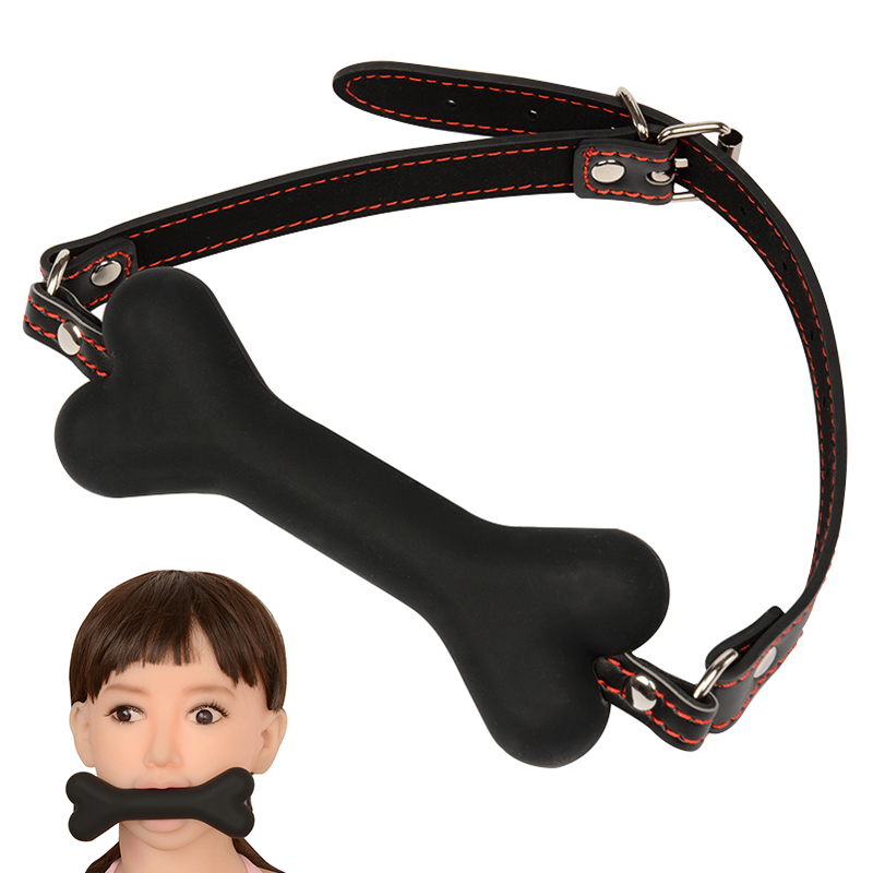 Cute Solid Leather Harness Mouth Silicone Dog Bone Ball Gag BDSM Mouth Plug Couples Flirting Sex Products Toys Adult Games Tool