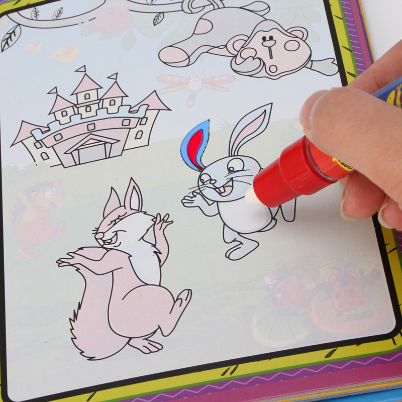 Kids Magic Water Drawing Book Animal bull Coloring Doodle Animal Painting Board w Magic Pen in Drawing Toys from Toys Hobbies