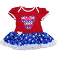 Cute Minnie American Flag July 4th Outfits Baby Lace Romper New Born Baby Girls Rompers 2016 Toddler Girl Clothing Kids Clothes